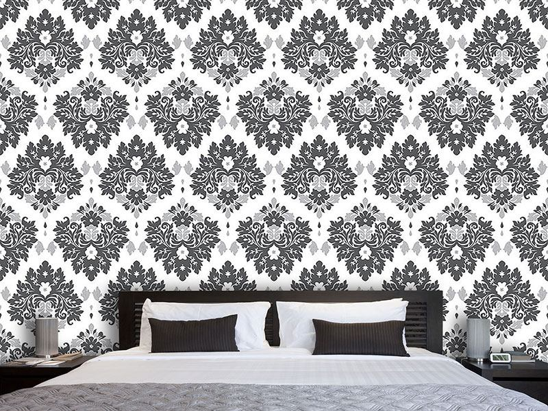 Design Wallpaper Damask Gris