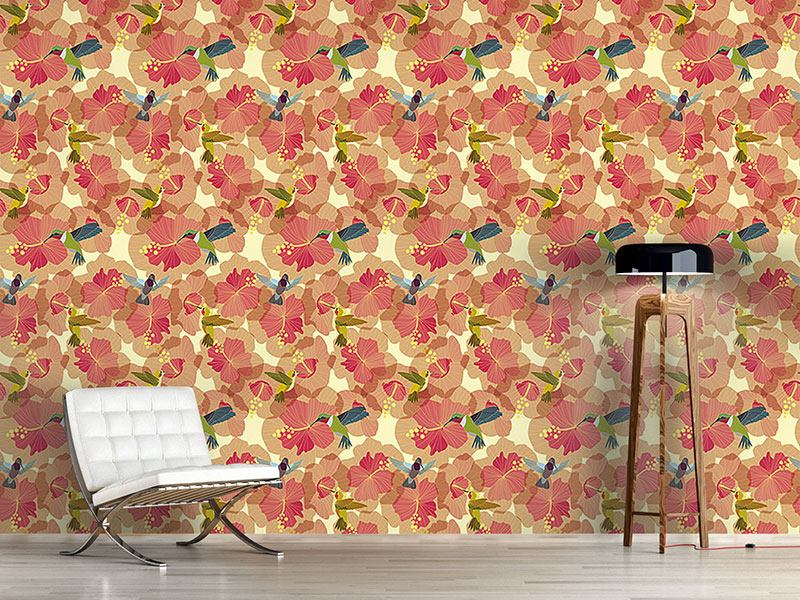 Design Wallpaper Hummingbird Marriage On Hibiscus