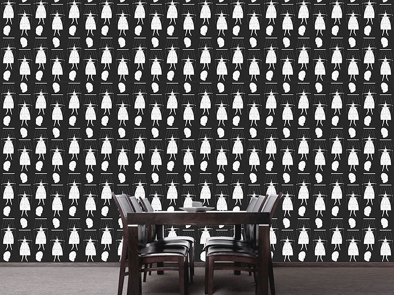 Design Wallpaper Masquerade In Black And White